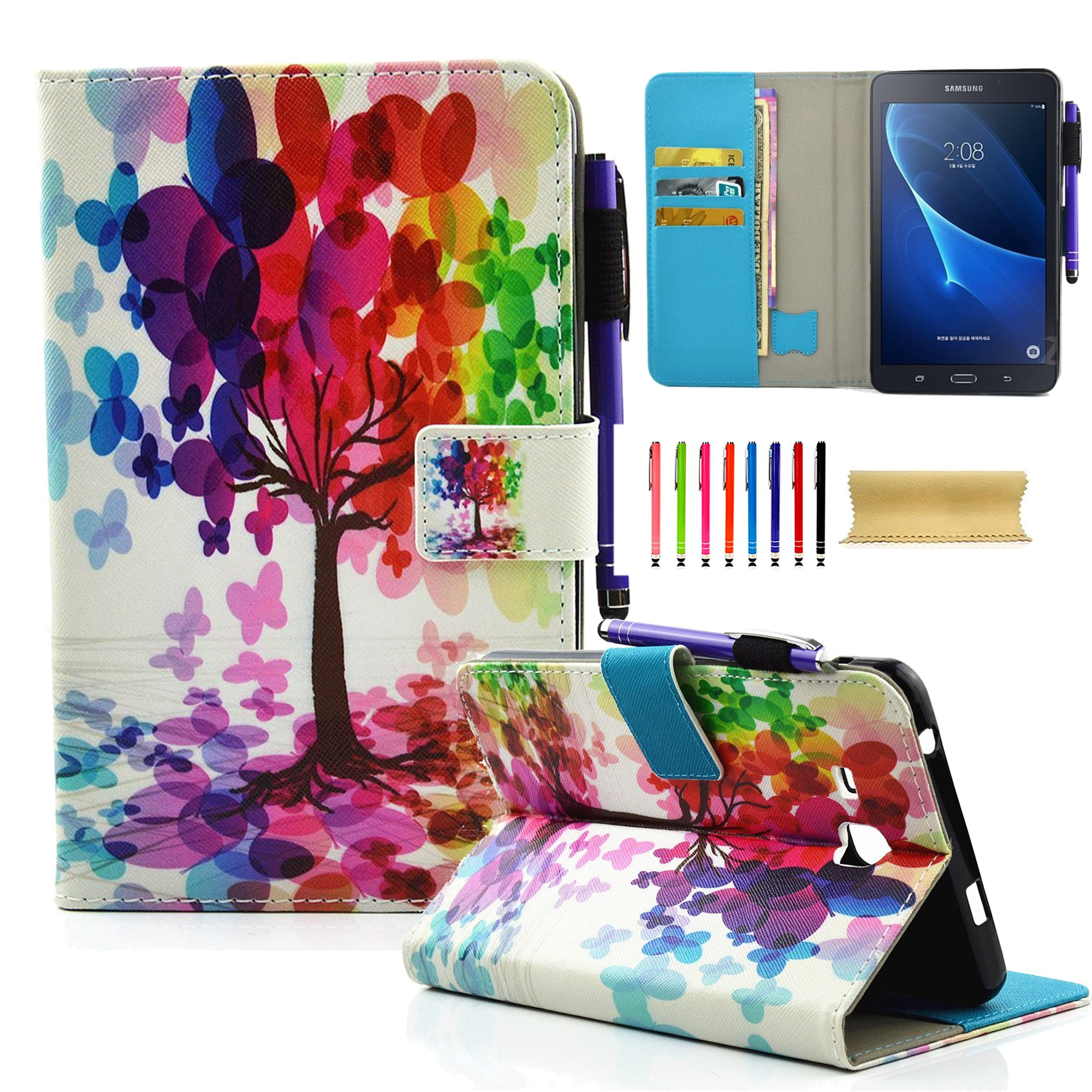"Galaxy Tab A 7.0"" Case, SM-T280 Case, Goodest Smart PU Leather Folio Stand Cover with Auto Wake/Sleep Wallet Case for Samsung Galaxy Tab A 7.0-inch Tablet, Butterfly Tree"
