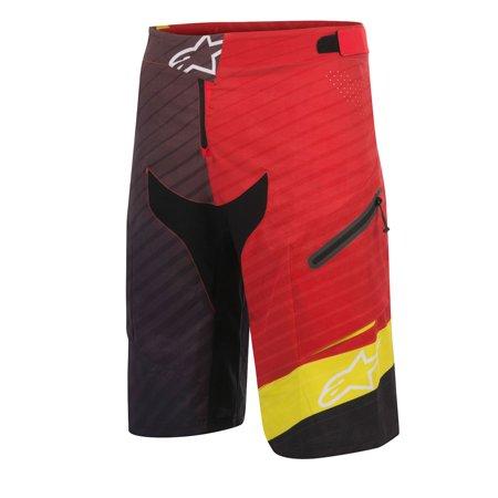 Alpinestars Depth Mens Biker Shorts Red Yellow Black