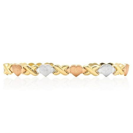 14k Yellow White Rose Gold Tri Color XO Hearts Kisses Bracelet 7.5