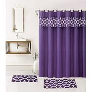 15-piece Hotel Bathroom Sets - 2 Non-Slip Bath Mats Rugs Fabric Shower Curtain 12-Hooks  GEOMATRIC PURPLE