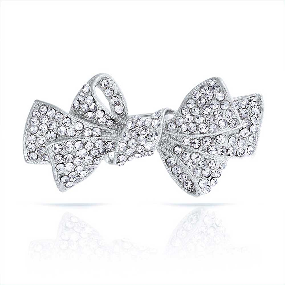 Bling Jewelry Small Ribbon Pin Clear Crystal Bow Brooch Silver Plated by Bling Jewelry