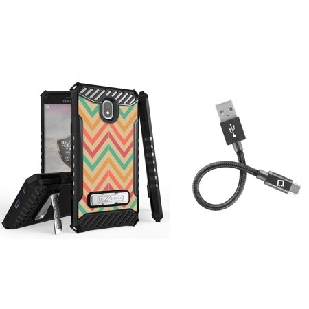 Beyond Cell Tri Shield Military Grade Kickstand Case (Coral Chevron) with Short Nylon Braided USB-A to Micro USB Cable (4 inches) and Atom Cloth for Samsung Galaxy J7 - Coral Chevron