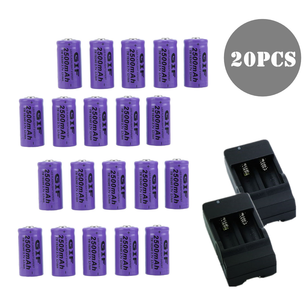 20pcs 2500mAh-GTF Rechargeable Batteries 16340 3.7V Set With 2 Chargers