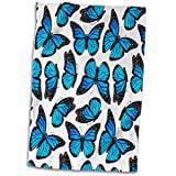 3D Rose Blue Monarch Butterflies Hand Towel 15 x 22