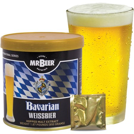 Mr. Beer Bavarian Wheat Beer 2 Gallon Homebrewing Craft Beer Refill Kit, Contains Hopped Malt Extract Designed for Consistent, Simple and Efficient Homebrewing (Beer Tasting Kit)