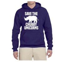 Save the Chubby Unicorns | Mens Humor Graphic Hoodie, Black, Medium