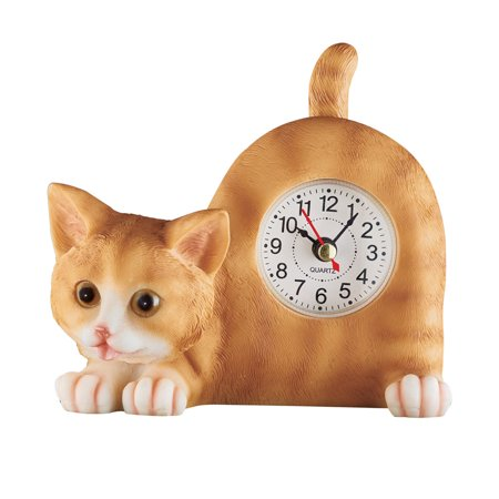 Wagging Tail Tabletop Tabby Cat Clock, Decor for Any Room - Gift for Cat Lovers (Insight Tabletop Clock)