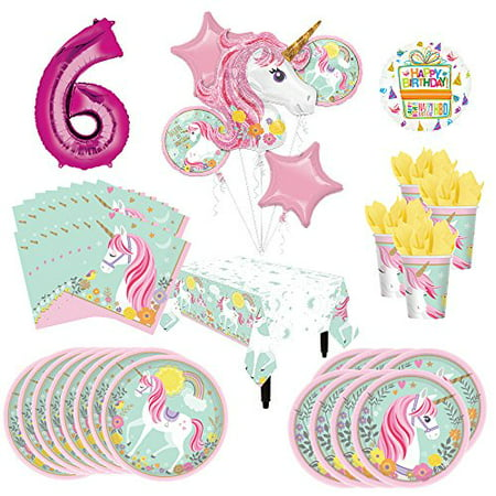 Magical Unicorn Party Supplies 8 Guests 6th Birthday Balloon Bouquet Decorations - Unicorn Birthday Party