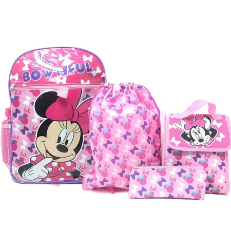 Disney Cinch Bag (Disney Minnie Mouse 5pc Backpack Set Pencil Pouch Water Bottle Cinch & Lunch)