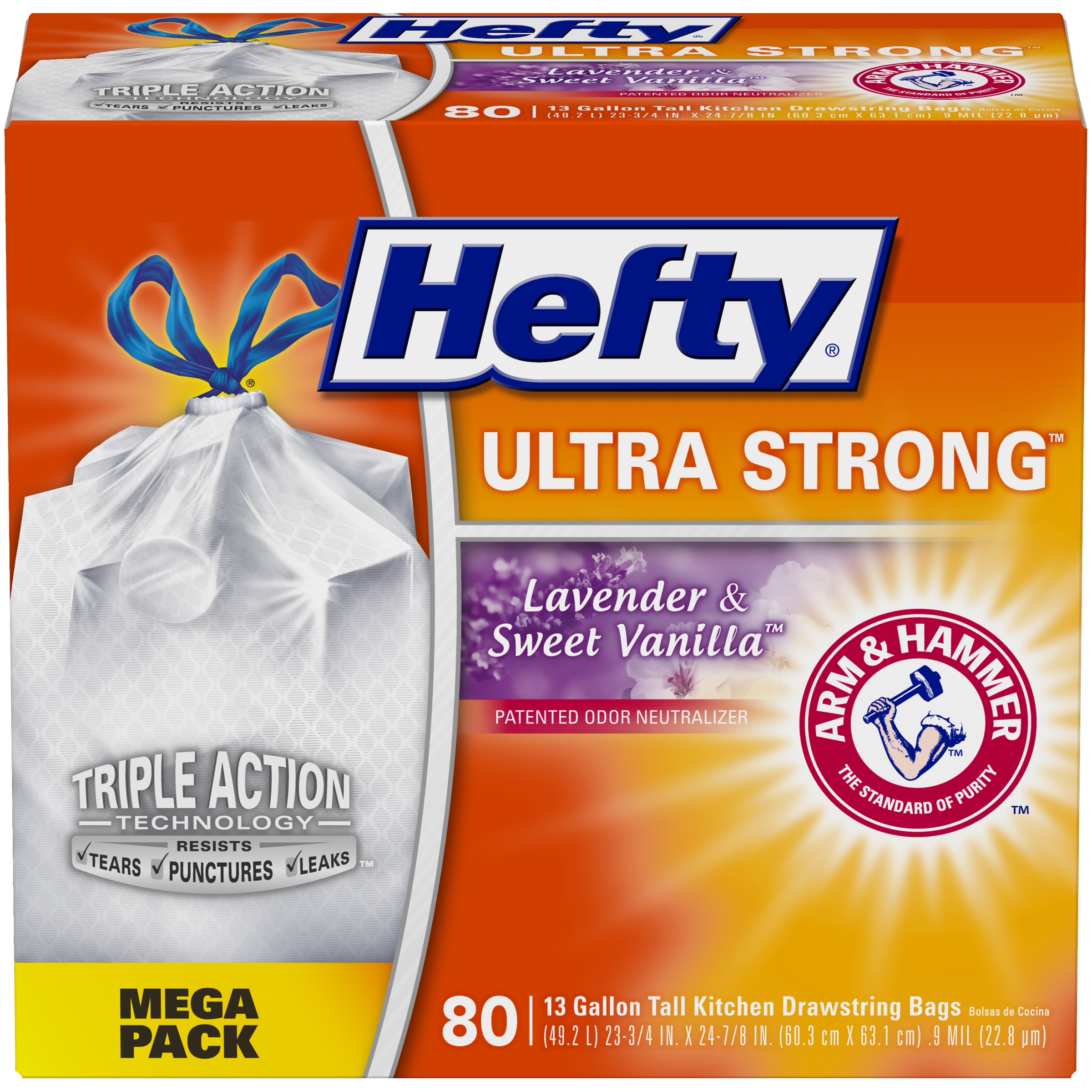 Hefty Ultra Strong Kitchen Trash Bags 13 Gallon Garbage Bags Scent Free 160count