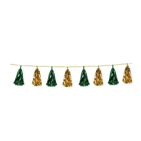 (Pack of 12) Beistle Metallic Tassel Garland Green and Gold