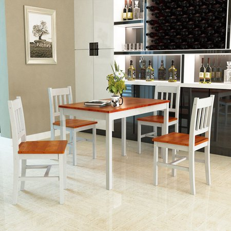 - Gymax 5 Piece Dining Table Set 4 Chairs Solid Wood Home Kitchen Breakfast Furniture