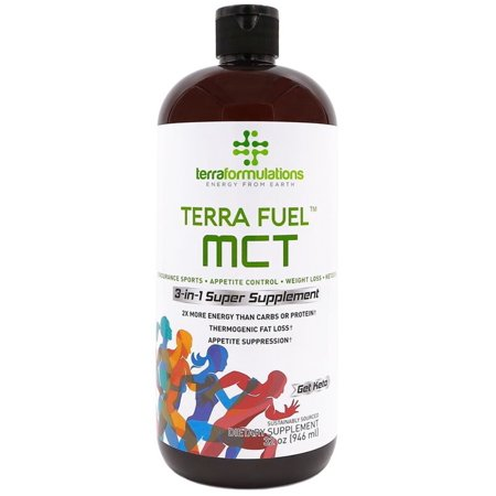 Terra Fuel MCT Oil, 70% C8 Caprylic Acid, 2X More Efficient, Best Value Amazon, 3-in-1 Ketogenic Supplement, Proven for Endurance Sports, Appetite Control, Weight Loss, 30% C10 capric 32 oz 32 oz