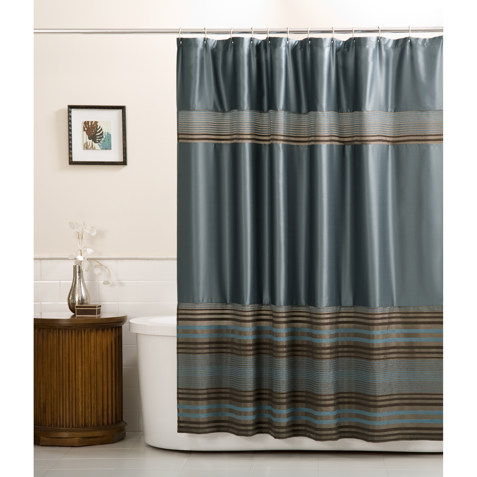 Mark Fabric Shower Curtain, Blue