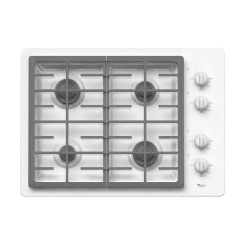 W5CG3024XW 30 Sealed Burner Gas Cooktop With 4 Sealed Burners  AccuSimmer Burner  Continuous Grates  Knob Controls  ADA Compliant  Electronic Ignition  In White