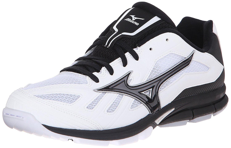 Mizuno Men's Players Trainer Baseball Turf Shoe, White Black, 8.5 M US by Mizuno