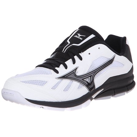 Mizuno Men's Players Trainer Baseball Turf Shoe, White/Black, 8.5 M US