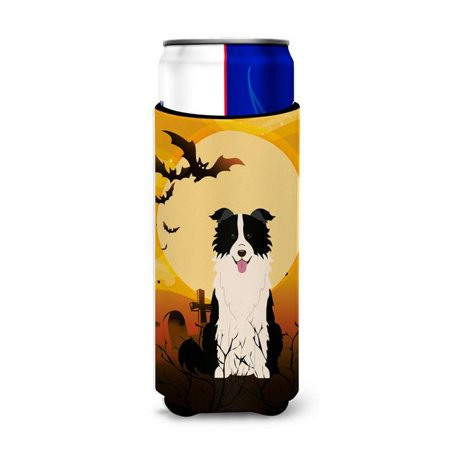 Halloween Border Clipart Black And White (Halloween Border Collie Black & White Michelob Ultra Hugger for Slim)