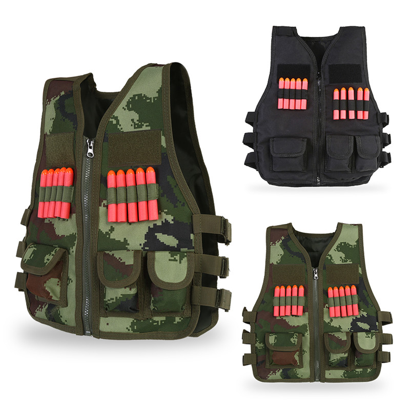 Yosoo Kids Army Combat Vest, CS Training Protective Vest with 10PCS Bullets Children Outdoor Sport Nylon Combat Vest Jacket