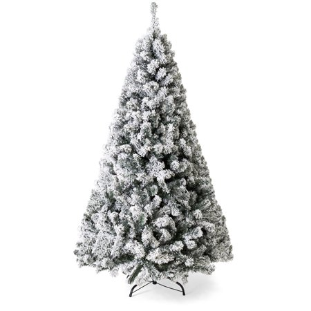 Best Choice Products 9ft Snow Flocked Hinged Artificial Christmas Pine Tree Holiday Decor with Metal Stand,