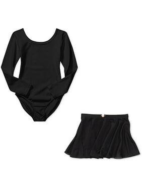 Danskin Now Girls' Long Sleeve Ballet Leotard with Front Liner and Dance Skirt Combo Sizes 4/5 -14/16