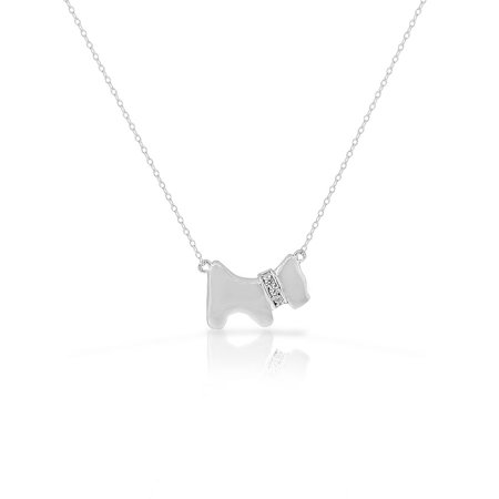 Puppy Necklace (925 Sterling Silver White Clear CZ Dog Puppy Terrier Pendant)
