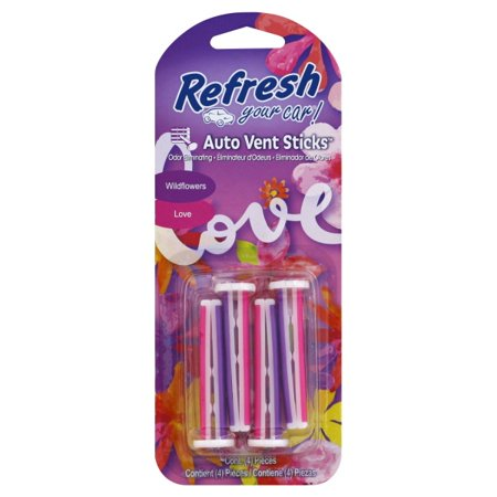 Refresh Auto Vent Sticks Car Air Freshener, Wildflowers/Love Scent