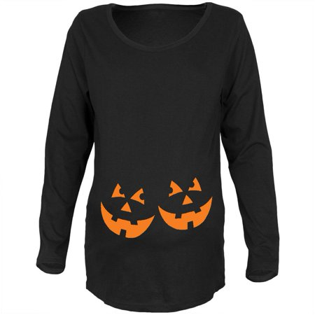 Halloween Twins Jack-O-Lantern Glow Black Maternity Soft Long Sleeve - Cute Maternity Halloween Shirts