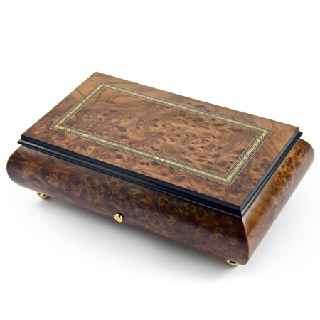 Hand Made Swiss 36 Note Classic Style with Frame Inlay Grand Music Box - America the Beautiful