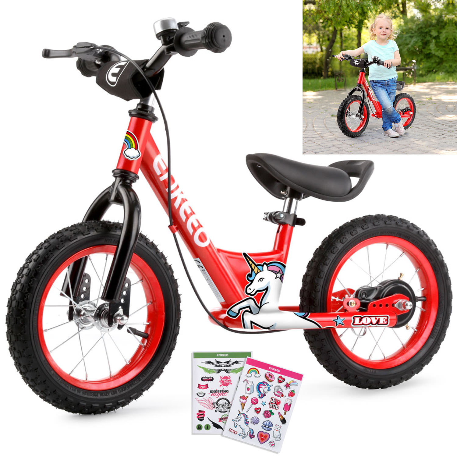 "ENKEEO 14"" Sport Balance Bike No Pedal Walking Bicycle with Carbon Steel Frame, Adjustable Handlebar and Seat, 110lbs Capacity for Kids Toddlers Ages 2 to 6 Years Old"