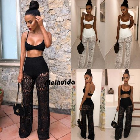 Mesh Women 2 Piece Outfit Set Rompers Jumpsuit Long Pants Set Sleeveless Crop (Women's Western Outfits)