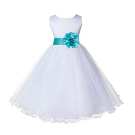 56532c989 Ekidsbridal Wedding Pageant White Flower Girl Dress Tulle Rattail Edge  Toddler Junior Bridesmaid Recital Easter Dress