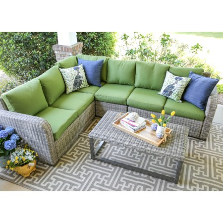 Leisure Made Forsyth Wicker 5 Piece Corner Sectional Patio ... on 5 Piece Sectional Patio Set id=70772