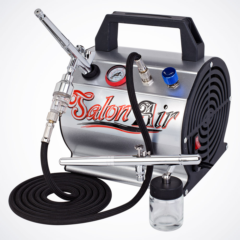 Multi Purpose 2 Dual-Action Airbrush & Compressor Kit Hobby Paint T-Shirt Tattoo