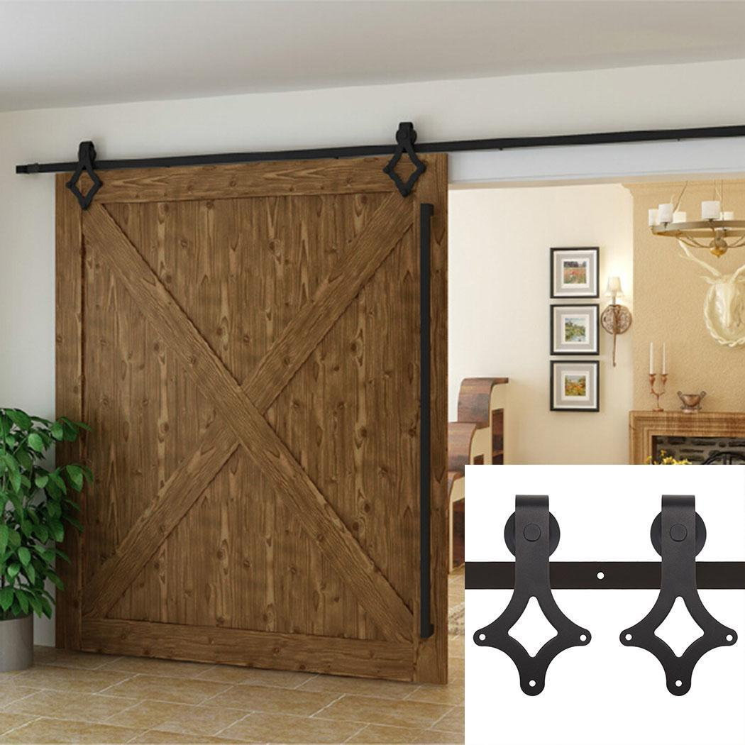 Sliding Barn Door Hardware Set Brown 6 FT - Antique Style With High Quality Steel