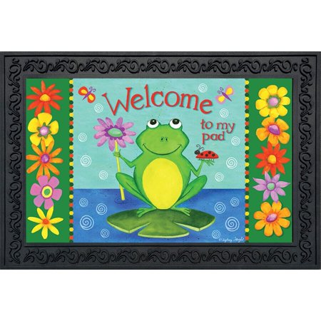 Welcome to My Pad Summer Doormat Indoor Outdoor Frog Lily Pad 18