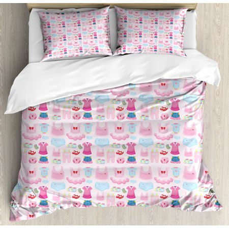 Baby Duvet Cover Set, Little Children Garments Cute Skirt Shoes Tutu Adorable Clothes Pattern, Decorative Bedding Set with Pillow Shams, Pale Pink Baby Blue Pink, by Ambesonne