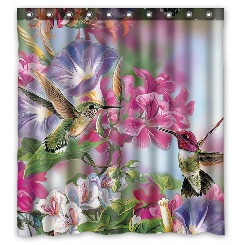 GCKG Hummingbird Bathroom Shower Curtain Rings Included Polyester Waterproof 36x72 Inches