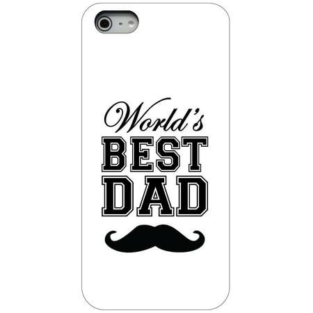 CUSTOM Black Hard Plastic Snap-On Case for Apple iPhone 5 / 5S / SE - Black World's Best Dad