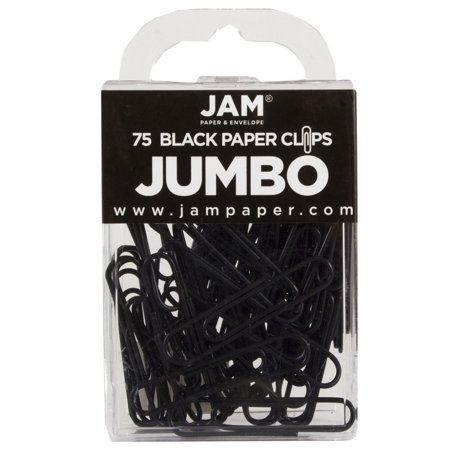 JAM Paper Colored Jumbo Paper Clips, Large 2, Black Paperclips, 75/pack Black Wood Paper Clip Holder