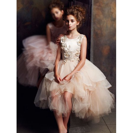 Girls Rose Gold Tiered Alluring Junior Bridesmaid Dress