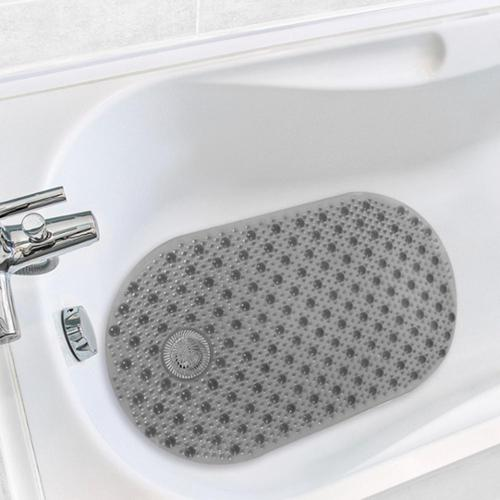 Antimicrobial Hair Catcher Bath Tub Mat CHOCOLATE