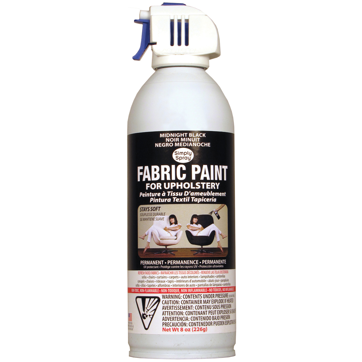 Deval Products Upholstery Spray Fabric Paint, 8-Ounce, Midnight Black Multi-Colored