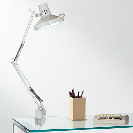 360 Lighting Modern Desk Lamp Architect Style White Clamp On Adjustable Arm for Office Craft Hobby