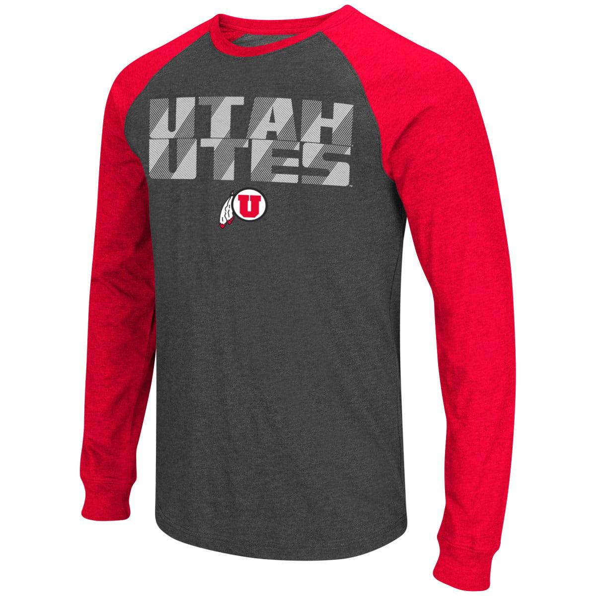 """Utah Utes NCAA """"Olympus"""" Long Sleeve Raglan Shirt - Charcoal"""
