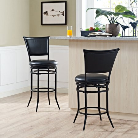Cushion Swivel Bar Stool (Rachel Swivel Bar Stool in Black with Black Cushion)