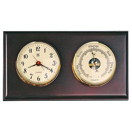 Quartz Clock & Barometer On Oak Wood With Brass Bezel