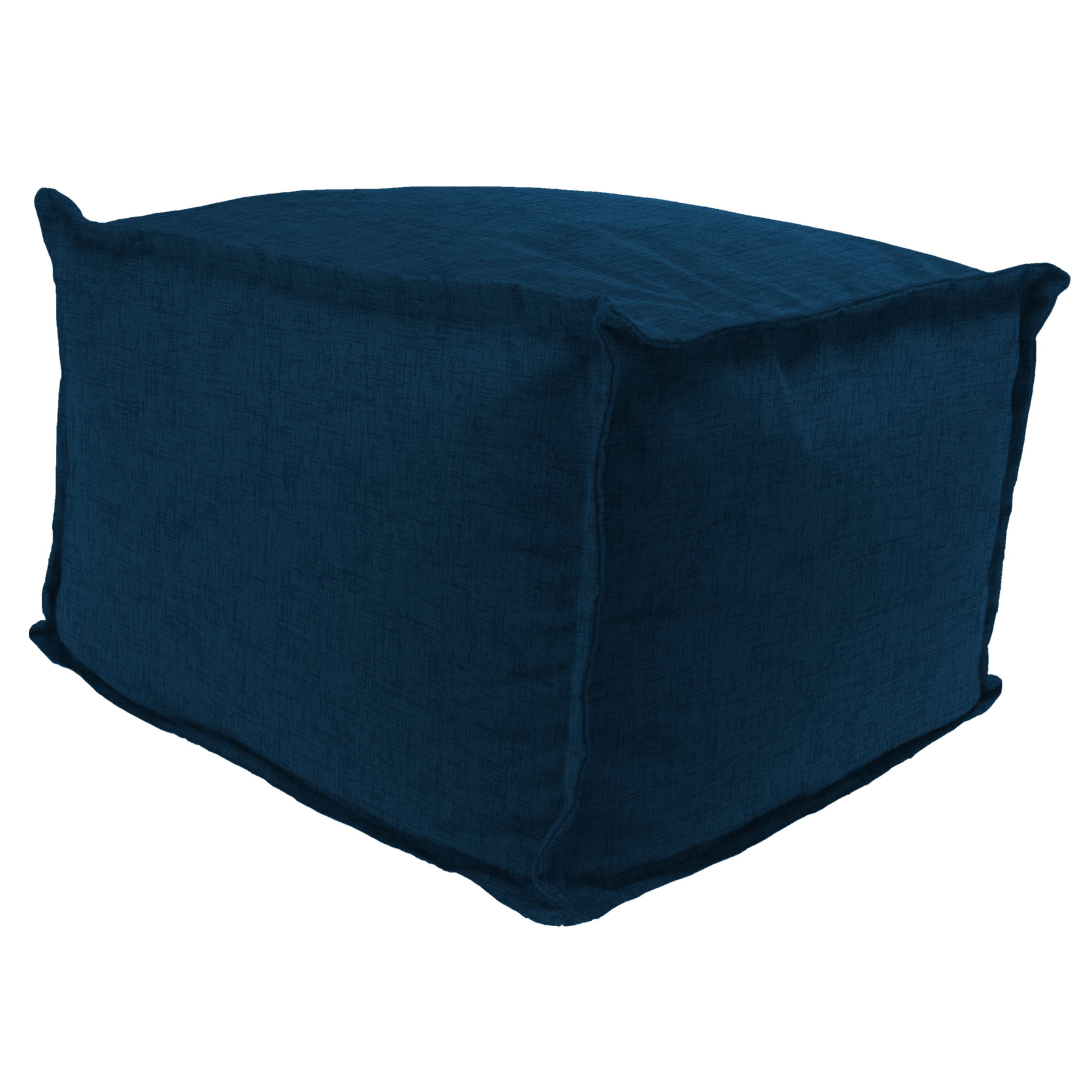 """Jordan Manufacturing Outdoor 20"""" x 20"""" Flanged Pouf/Ottoman, Bead Filled, Jackson Oxford"""