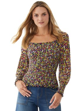 Scoop Women's Square Neck Smocked Top