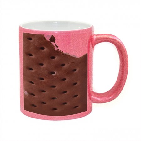 KuzmarK Pink Sparkle Coffee Cup Mug 11 Ounce - Ice Cream Sandwich